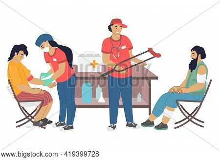 Volunteers Providing Medical Assistance To Homeless People, Flat Vector Illustration. Care For Homel