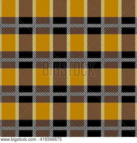 Brown And Black Scotland Textile Seamless Pattern. Fabric Texture Check Tartan Plaid. Abstract Geome