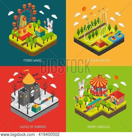 Amusement Part 4 Isometric Icons Square Composition Banner With Big Observation Wheel Attraction Abs