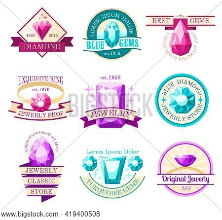 Jewel Emblems Set With Jewelry Store And Original Jewelry Symbols Flat Isolated Vector Illustration