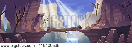 Autumn Landscape With Mountains, Log Bridge Above River, Waterfall And Bare Trees. Vector Cartoon Il