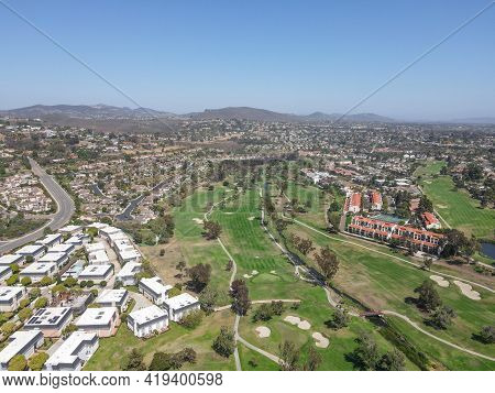 Aerial View Of Houses And Condos With Golf In Carlsbad, North County San Diego, California, Usa.