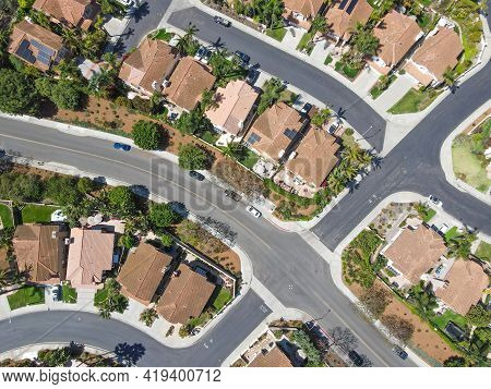 Aerial View Of Middle Class Big Villas In Carlsbad Valley, North County San Diego, California, Usa.