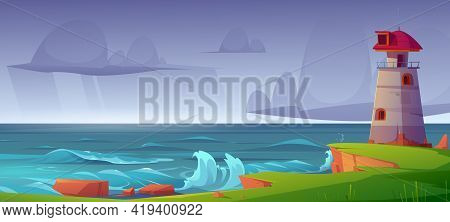 Lighthouse On Sea Shore At Storm, Beacon Building At Scenery Nature Ocean Landscape With Splashing W
