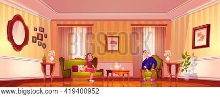 Happy Couple In Living Room In Classic Victorian Style. Man And Woman Relax At Home. Vector Cartoon