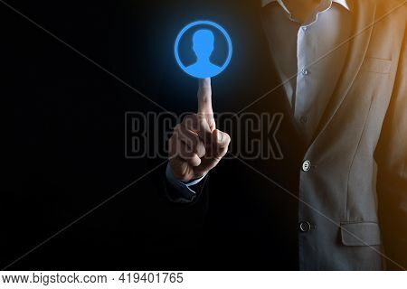 Businessman In Suit Holding Out Hand Icon Of User. Internet Icons Interface Foreground. Global Netwo