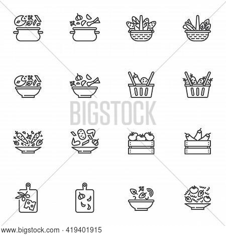 Healthy Food Line Icons Set, Outline Vector Symbol Collection, Linear Style Pictogram Pack. Signs, L