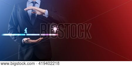 Male Business Man Hand Hold A Connecting Block Between Two Sets Of Bridge Road For A Silhouetted Man