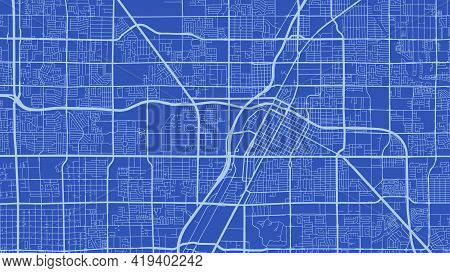 Skyblue And Blue Las Vegas City Area Vector Background Map, Streets And Water Cartography Illustrati