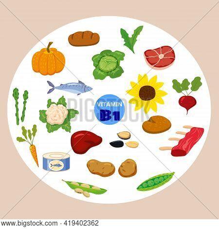 Set Of Vitamin C Origin Natural Sources. Healthy Diary Food, Thiamin, Fruits, Greens, Vegetables, Fi