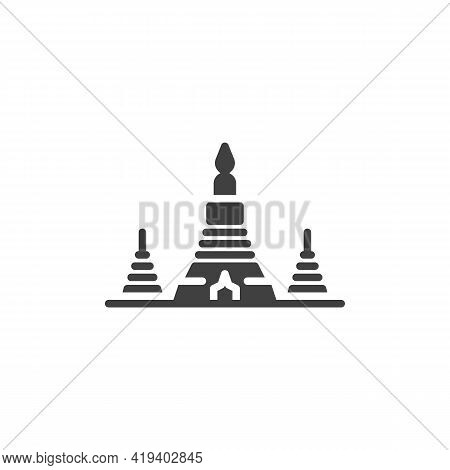 Wat Arun Temple Vector Icon. Filled Flat Sign For Mobile Concept And Web Design. Thai Temple Of Dawn