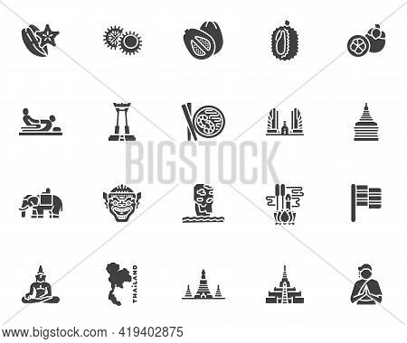 Thai Culture Vector Icons Set, Modern Solid Symbol Collection, Filled Style Pictogram Pack. Signs, L