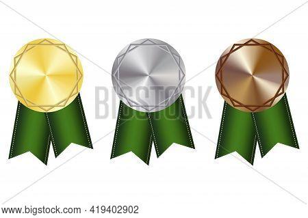 Flat Medals Green Ribbons. Sport Award. Premium Quality. Championship Trophy. Win Prize. Vector Illu
