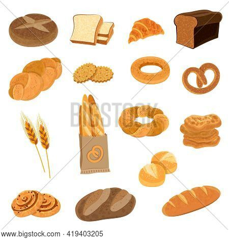 Bakery Fresh Bread Varieties Assortment Flat Icons Collection With Loaf And French Baguette Abstract