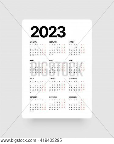 Calendar For 2023 Year. Week Starts On Monday.