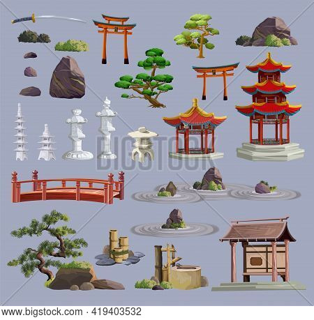 Ancient Japan Culture Objects Big Set With Gate, Pagoda, Temple, Ikebana, Trees, Stone, Garden, Japa