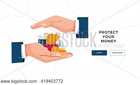 Protect Your Money Landing Page Template. Insurance Agent Is Holding Hands Over The Savings To Save