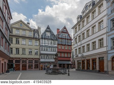 Houses In The Reconstructed Old Town Of Frankfurt, Germany