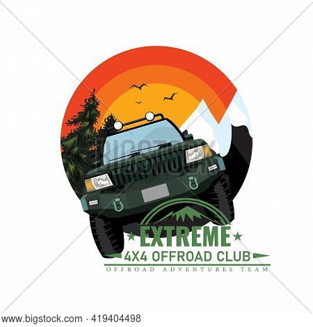 Off-road Car Or Expedition Offroader With Mountain And Forest Nature Background For Round Or Circle