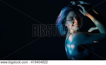Nightlife Banner. Neon Light Portrait. Disco Entertainment. Relaxed Happy Woman In Eyeglasses Enjoyi