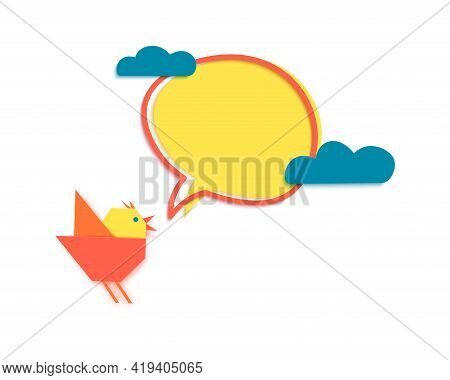 Early Bird Discount Banner With Clouds In Paper Cut Style. Speech Bubble With Origami Birdie. Specia