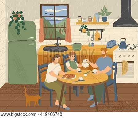 Happy Family Having Breakfast At Home In The Kitchen. Modern Kitchen Interior Hand Drawn Vector Illu