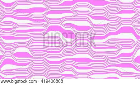Abstract Vector Background In Pink And White Colors. Waves On A Striped Surface.
