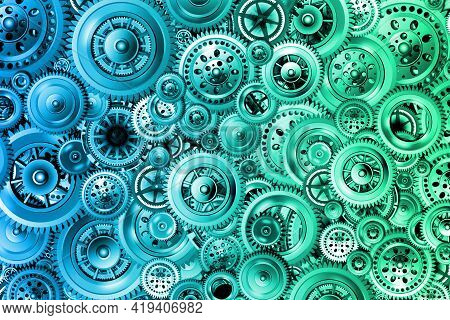 Technology Development Concept. Bright Background From Various Mechanisms. Gears In Motion. Concept
