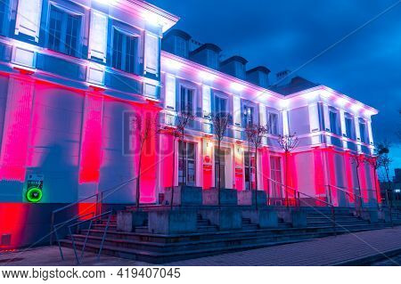 Pruszcz Gdanski, Poland - May 3, 2021: White And Red Illumination At 3 May Constitution Day On City