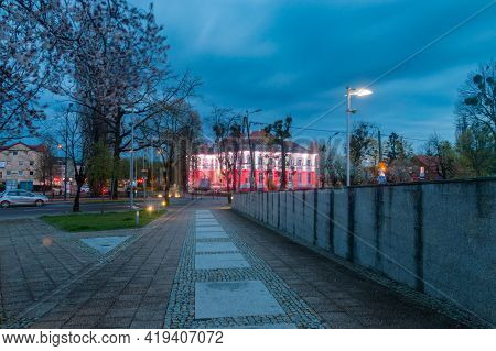 Pruszcz Gdanski, Poland - May 3, 2021: Evening View At John Paul Ii Square In City Center Of Pruszcz