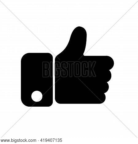 Hand Thumb Up Gesture Line Icon. Testimonials, Like And Customer Relationship Management Concept. Si