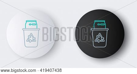 Line Recycle Bin With Recycle Symbol And Can Icon Isolated On Grey Background. Trash Can Icon. Garba