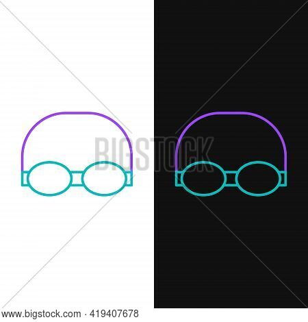 Line Glasses And Cap For Swimming Icon Isolated On White And Black Background. Swimming Cap And Gogg