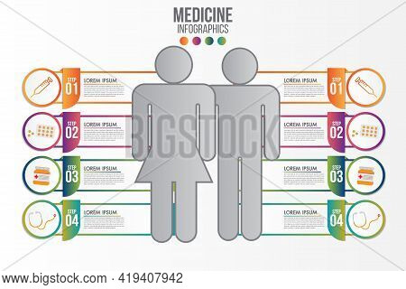 Medicine Phamacy Infographic 4 Step Set.healthcare And Medical Research Infographic Set.flat Style.m