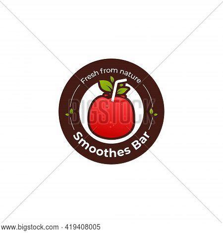 Red Apple Fruit Juice Bar Logo, Red Fresh Smoothies Logo Icon