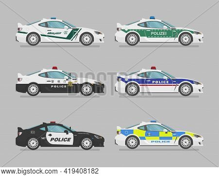Set Of Isolated Police Cars. Flat Illustration, Icon For Graphic And Web Design. Side View On Grey B