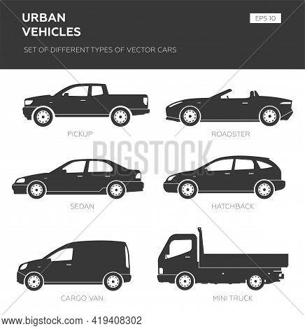 Cars Over White Background, Vector Illustration. Collection Car Icon Set - Sedan, Hatchback, Van, Ro