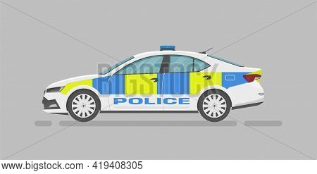 English Police Car. Side View. Cartoon Flat Illustration. Auto For Graphic And Web