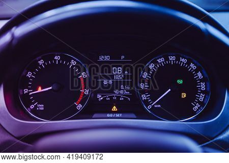 Novosibirsk, Russia - April 25 2021: Scoda Rapid, Close-up Of Round Dashboard, Speedometer And Tacho