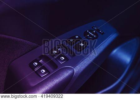 Novosibirsk, Russia - April 25 2021: Hyundai Solaris , Car Door Interior Armrest With Window Control