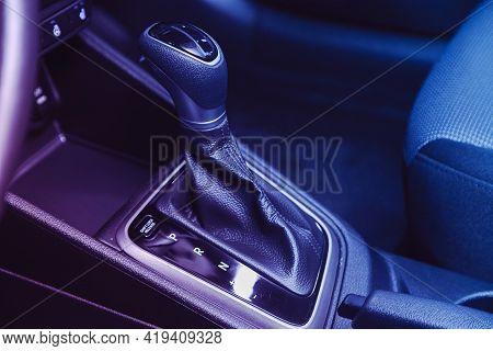 Novosibirsk, Russia - April 25 2021: Hyundai Solaris , Automatic Gear Stick Of A Modern Car Under Pi