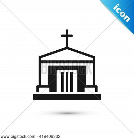 Grey Old Crypt Icon Isolated On White Background. Cemetery Symbol. Ossuary Or Crypt For Burial Of De