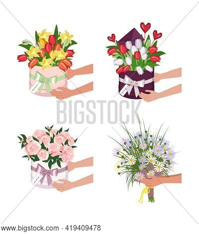 Delivery Of A Round Box With Tulips, Daffodils And Daisies. Hands Hold Bouquets Of Flowers. Vector I