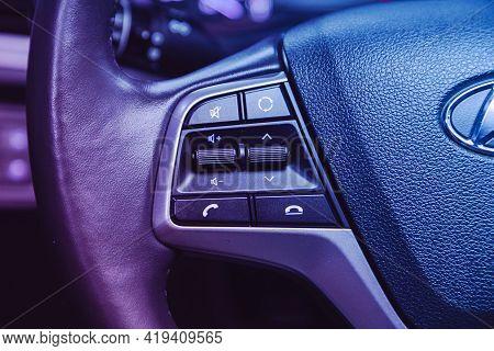 Novosibirsk, Russia - April 25 2021: Hyundai Solaris , Black Steering Wheel With Multifunction Butto