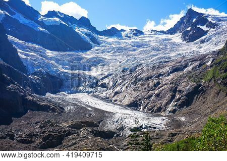 View Of The Circus Of The Alibek Glacier, Dombay Region, Caucasus, Russia. The Picture Was Taken In
