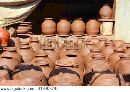 Pots Drying At Kumbharwada, Mumbai. Spread Across 22-acres, It One Of The Largest Community Of Potte