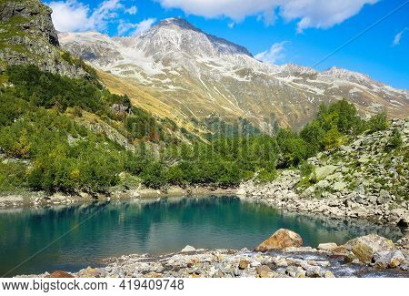 Mountain Lake View, Dombay Region, Caucasus, Russia. The Picture Was Taken In Autumn 2020