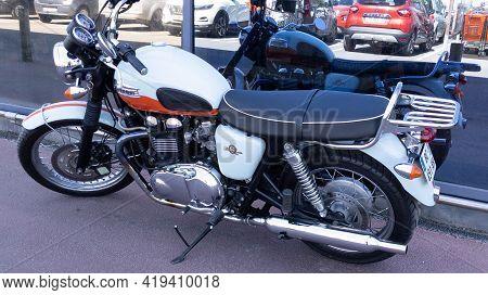 Bordeaux , Aquitaine France - 05 02 2021 : Triumph Bonneville T100 Bonnie Limited Edition 50th Anniv