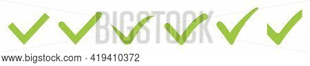Set Of Green Check Mark Icons. Accept, Okay Symbol For Approvement Or Checklist Design. Vector Illus