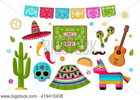 Celebration Of Cinco De Mayo In Mexico, Icons Set, Design Element.collection Of Icons For The Cinco